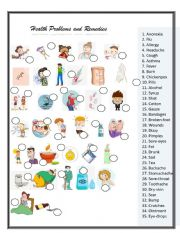 English Worksheet: Health  Problems and Remedies   MATCHING      2 OF 3 exercise set