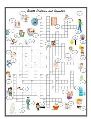 English Worksheet: Health  Problems and Remedies   CROSSWORD   3 OF 3 exercise set