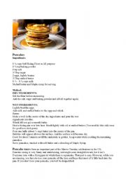 English Worksheet: Pancakes