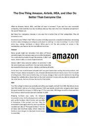 English Worksheet: Business English (Article & Webquest on Amazon, Airbnb, Uber, IKEA)