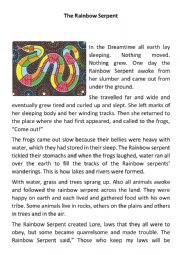 English Worksheet: Think Tales: The Rainbow Serpent
