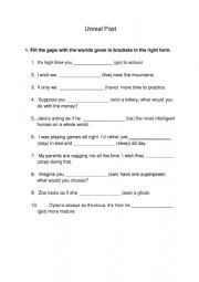English Worksheet: Unreal past sentences