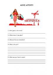 English Worksheet: Movie: Confessions of a Shopaholic