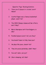 Tag Questions- Running Dictation sentences