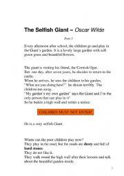 The Selfish Giant by Oscar Wild (Part 1)
