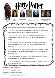 physical description harry potter characters