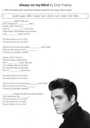 English Worksheet: Fill in the blanks - Always On My Mind - Elvis Presley