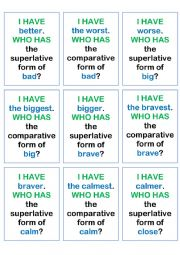 English Worksheet: Comparative and superlative I HAVE WHO HAS game