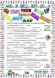 English Worksheet: Linking words: elementary with KEY