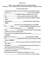 English Worksheet: Perfect and Perfect Continuos Past, Present and Future