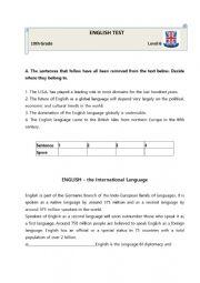 English Test -10th Grade Students