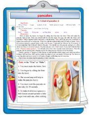 English Worksheet: -�- A kind of pancakes -�