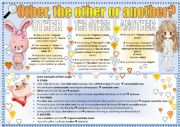 English Worksheet: �OTHER, THE OTHER OR ANOTHER?� WORKSHEET