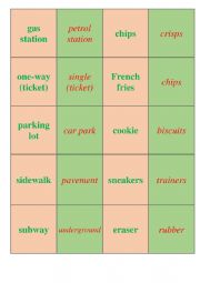 English Worksheet: US English vs Br English (matching cards)