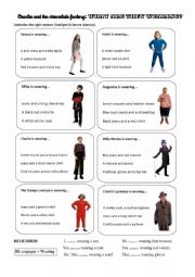 English Worksheet: Charlie and the chocolate factory - What are they wearing