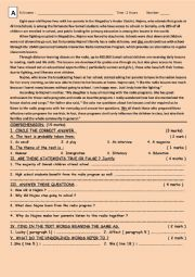 English Worksheet: Global test second year bac first semester ticket to English