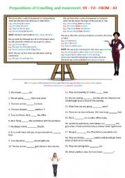 English Worksheet: Prepositions about Travelling and Movement