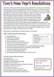 English Worksheet: Tom�s New Year�s Resolutions