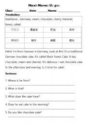 English Worksheet: reading: German cake