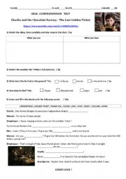 English Worksheet: LISTENING TEST Charlie and the Chocolate Factory