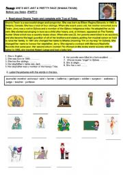 English Worksheet: Song by Shania Twain - she�s not just a pretty face- PART I before you listen: Reading and vocabulary