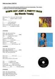English Worksheet: Song by Shania Twain - she�s not just a pretty face- PART II : while you listen - listen and complete