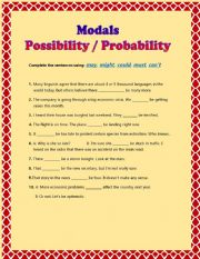 English Worksheet: Modals - Possibility or Probability