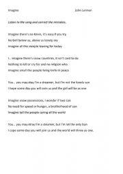 John Lennon Imagine: Lyrics with mistakes