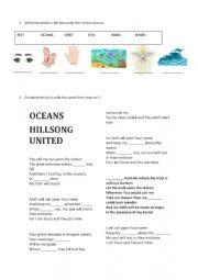 English Worksheet: Oceans - Hillsong
