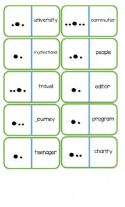 Pronunciation Dominoes - Word Stress (page 2/2) + Instructions