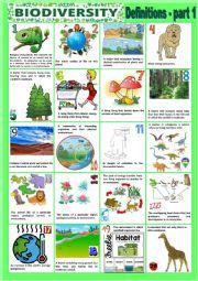 English Worksheet: Biodiversity - Definitions - Part 1 + KEY