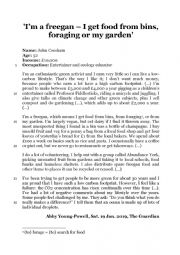 English Worksheet: Written Comprehension on Freeganism and reducing the carbon footprint