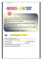 English Worksheet: MOVERS MINI TEST !!