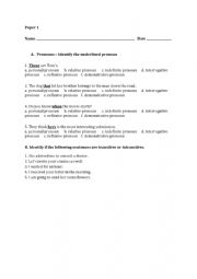 English Worksheet: Pronouns and Transitive and Intransitive Verbs