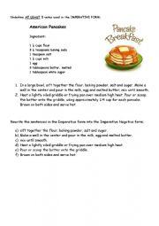 English Worksheet: Imperative Pancake recipe