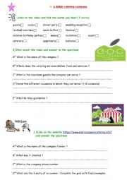 English Worksheet: A British catering ndustry