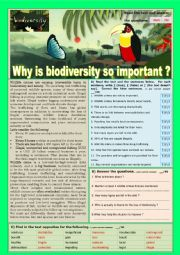 Why is BIODIVERSITY so important ? Reading comprehension or Test.