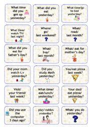 simple past speaking cards