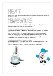 English Worksheet: Heat and Temperature
