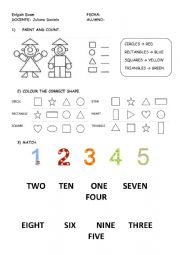 shapes, numbers and colours