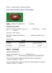 English Worksheet: A rookie�s guide to American football