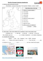 English Worksheet: The City of Liverpool