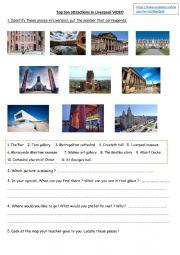 English Worksheet: Top ten attractions in Liverpool