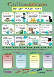 Collocations - Do - Get - Make - Take