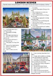 English Worksheet: London Scenes, picture description