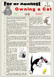 English Worksheet: For or Against Owning Cats. Debating + Writing