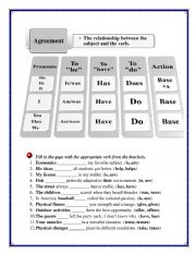 English Worksheet: subject- verb agreement