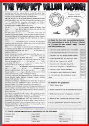 English Worksheet: The Perfect Killing Machine ! Reading + exercises + KEY