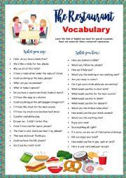 English Worksheet: Restaurant Vocabulary