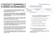 English Worksheet: End of term test for first year form sport branch